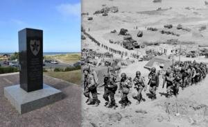 D-day, la 2 divisione usa scala la duna dopo aver sfondato il quadrante assegnatole a Omaha Beach. Quello stesso punto oggi.