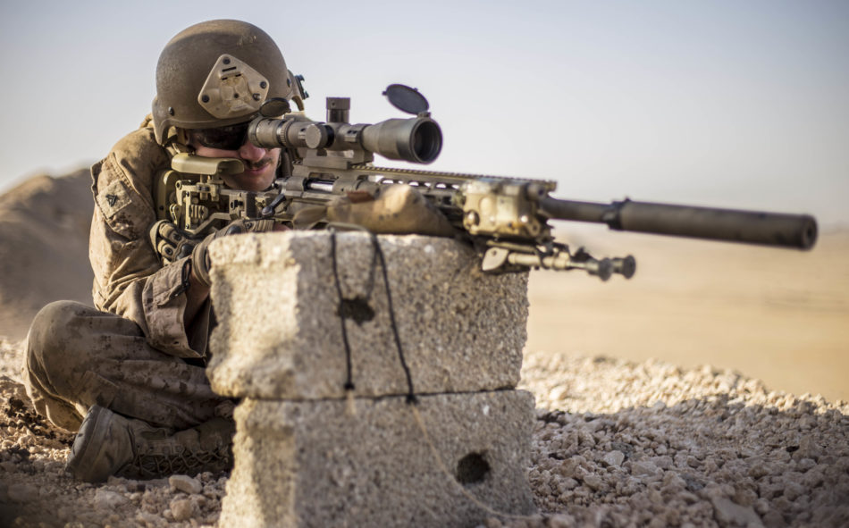 RABKUT, Oman (Feb. 19,2017) U.S. Marine Cpl. Robert Lea, a scout sniper with Weapons Company, Battalion Landing Team 1st Bn., 4th Marines, 11th Marine Expeditionary Unit (MEU), sights in with his M110 Semi-Automatic Sniper System during an unknown distance range as part of Exercise Sea Solider, Feb. 19. The Marines and Sailors with the Scout Sniper Platoon will seek vantage points to observe key areas of interest, known as forward observing, and give adjacent units fire direction from long distances. Sea Soldier 2017 is an annual, bilateral exercise conducted with the Royal Army of Oman designed to demonstrate the cooperative skill and will of U.S. and partner nations to work together in maintaining regional stability and security. The 11th MEU is deployed in the U.S. 5th Fleet area of operations in support of maritime security operations designed to reassure allies and partners, preserve the freedom of navigation and the free flow of commerce and enhance regional stability. (U.S. Marine Corps photo by Cpl. April L. Price)