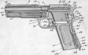Diagramma della M1911, così come appariva nelle descrizioni ufficiali dell'Esercito Usa (Ordnance Department)