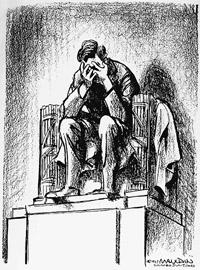 La vignetta di Mauldin per l'uccisione di Kennedy con Lincoln che piange (Chicago Sun Times)